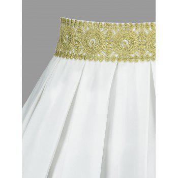 High Waisted Embroidery Mini Skirt - WHITE WHITE