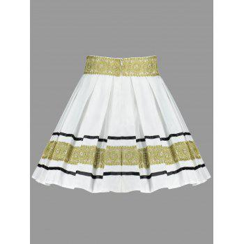 High Waisted Embroidery Mini Skirt - WHITE M