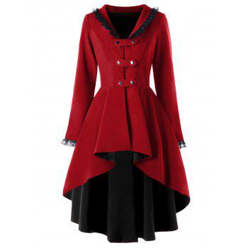 Lace Trimmed High Low Gothic Coat - WINE RED WINE RED