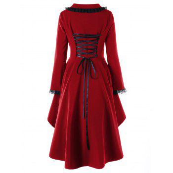 Lace Trimmed High Low Gothic Coat - WINE RED XL