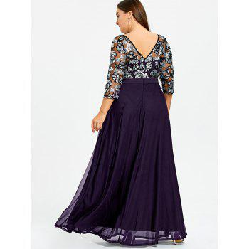 Plus Size Sequined Floral Sheer Prom Dress - PURPLE XL
