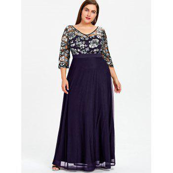 2018 Plus Size Sequined Floral Sheer Prom Dress Purple Xl In Plus