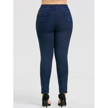 Plus Size Elastic Waist Fleece Lined Denim Pants - PURPLISH BLUE 5XL