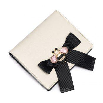 Bee Pattern Bow Rhinestone Bi Fold Wallet - CRYSTAL CREAM