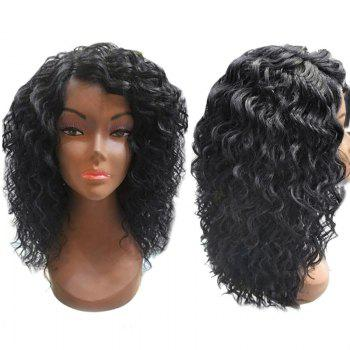 Medium Capless Side Parting Water Wave Synthetic Wig - NATURAL BLACK NATURAL BLACK