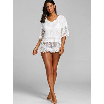 Flare Sleeve V Neck Crochet Trim Cover Up - Blanc ONE SIZE
