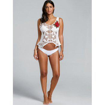 Openwork Crochet Beach Tank Cover Up - WHITE ONE SIZE