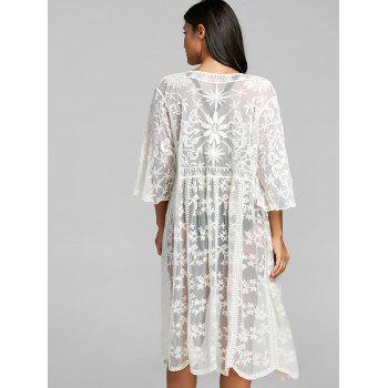 Embroidered Lace See Thru Cover Up - OFF WHITE OFF WHITE