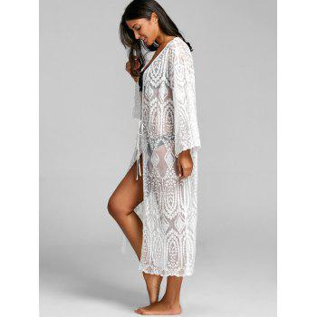 Lace Sheer Beach Cover Up Cardigan - WHITE ONE SIZE