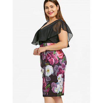 Plus Size Floral Print Flounce Bodycon Dress - COLORMIX 5XL