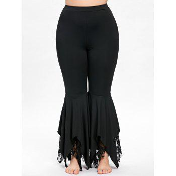 Plus Size Handkerchief Hem Flare Pants - BLACK BLACK
