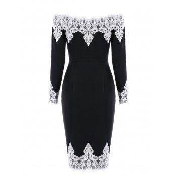 Lace Panel Off The Shoulder Evening Dress - BLACK BLACK