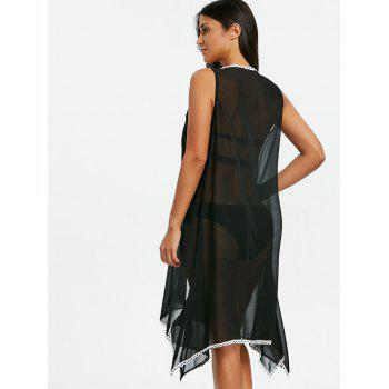 Scallop Trim Asymmetric Sheer Cover Up - BLACK ONE SIZE