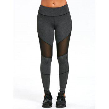 Mesh Panel Exposed Seam Skinny Leggings - DEEP GRAY M