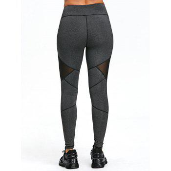 Mesh Panel Exposed Seam Skinny Leggings - DEEP GRAY L