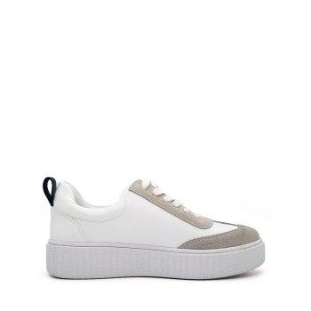 Color Block Stitching Sneakers - WHITE 37