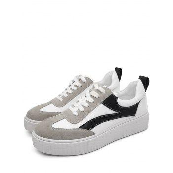 Color Block Stitching Sneakers - WHITE 38