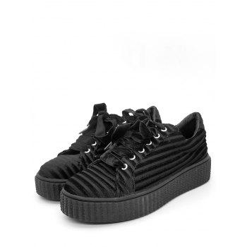 Faux Suede Lace Up Sneakers - BLACK 38