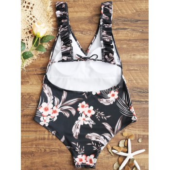 Floral Ruffles V Neck One Piece Swimsuit - BLACK M