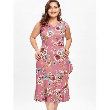 Plus Size Tiny Floral Ruffle Overlap Hawaiian Dress - LIGHT PINK 2XL