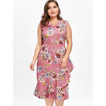 Plus Size Tiny Floral Ruffle Overlap Hawaiian Dress - LIGHT PINK 3XL