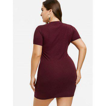 Ribbed Crisscross Plus Size Bodycon Dress - WINE RED 2XL