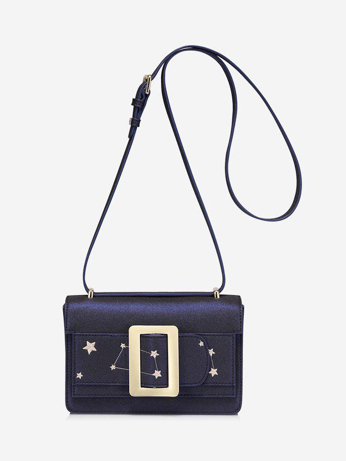 Stars Embroidery Buckled Crossbody Bag - CERULEAN