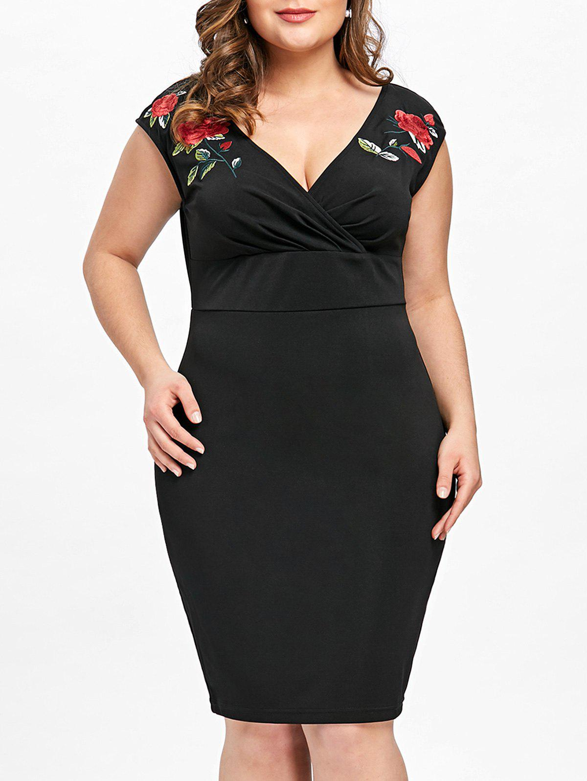 Plus Size Cap Sleeve Embroidery Pencil Dress - BLACK XL
