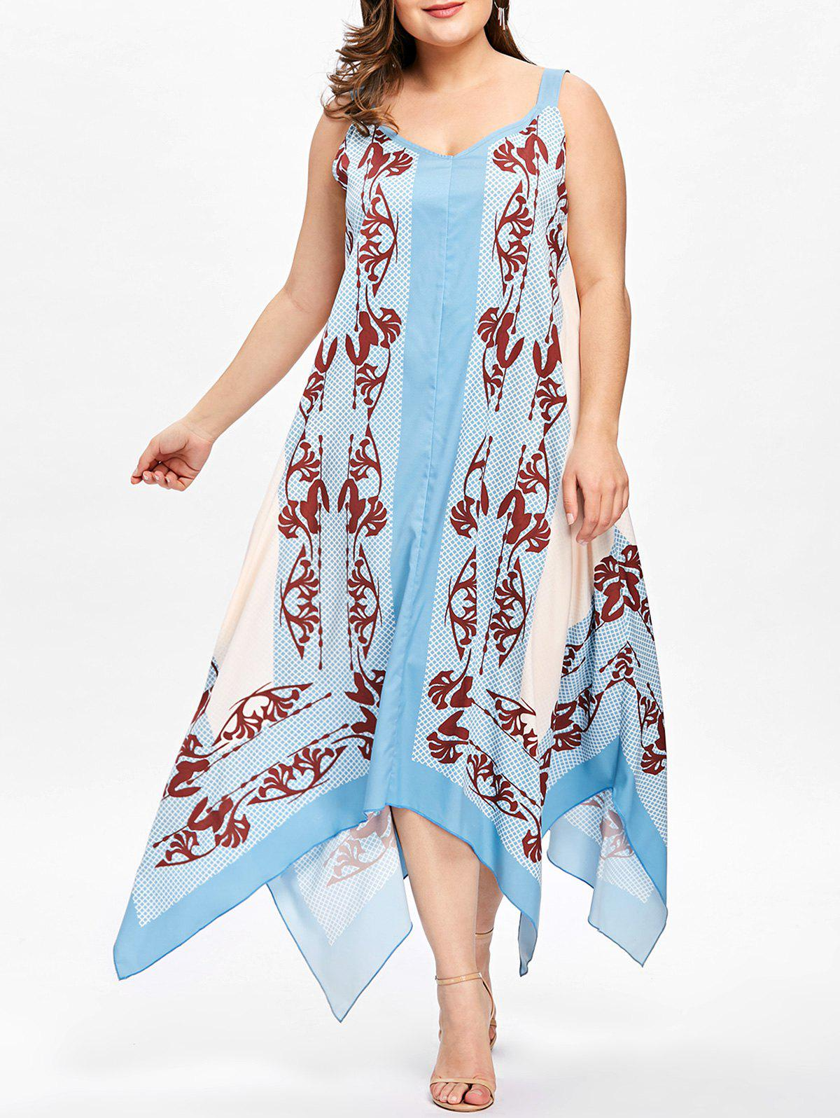 Plus Size Baroque Print Flowing Handkerchief Dress - LIGHT BLUE 4XL