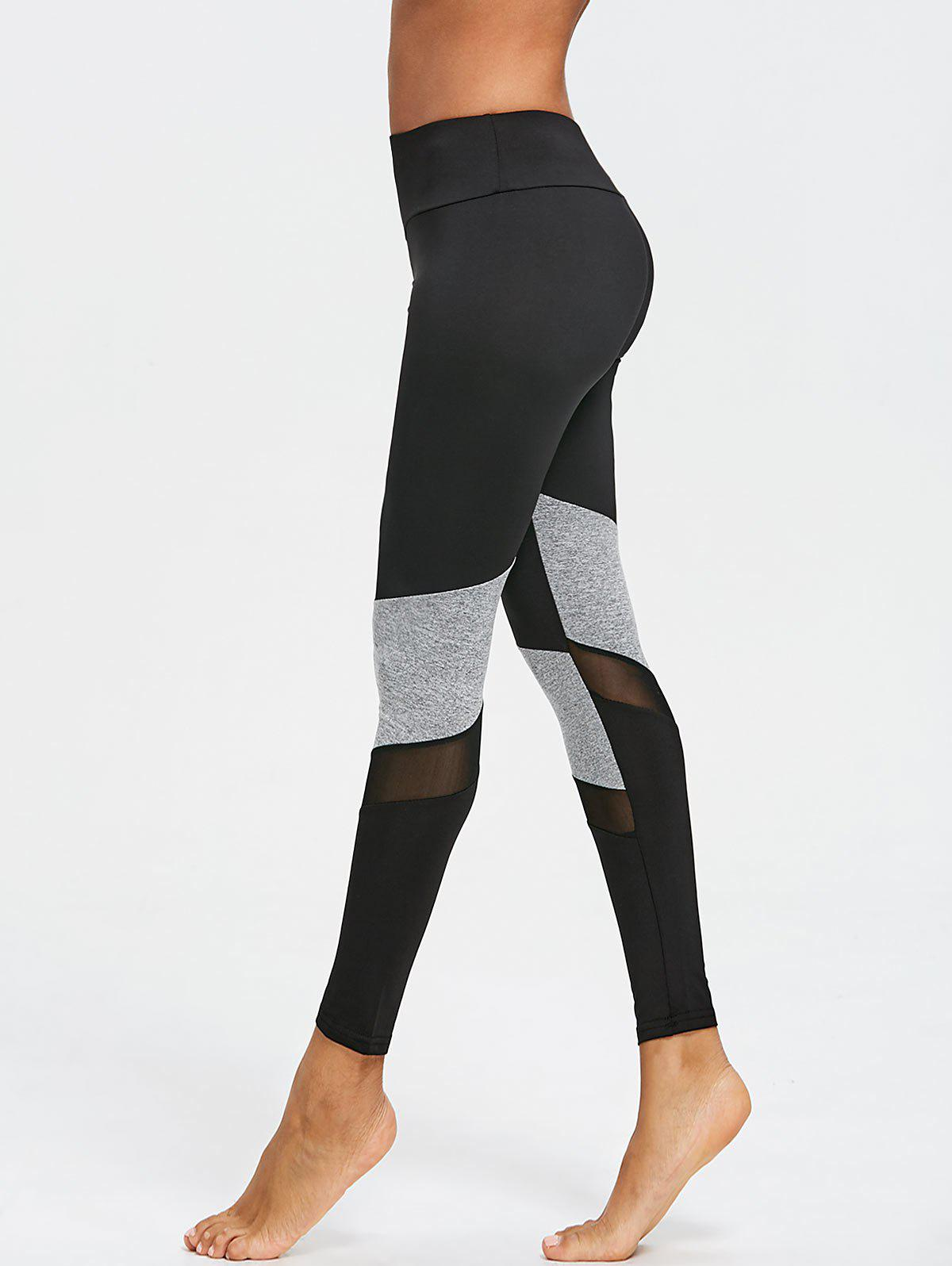 Two Tone Mesh Insert Capri Leggings - BLACK/GREY L