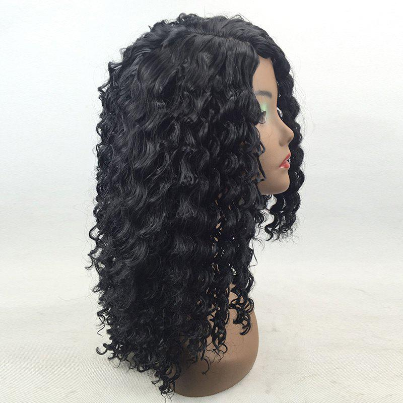 Medium Capless Side Parting Water Wave Synthetic Wig - NATURAL BLACK