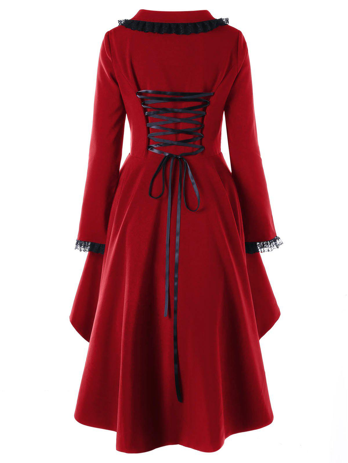 Lace Trimmed High Low Gothic Coat - WINE RED M