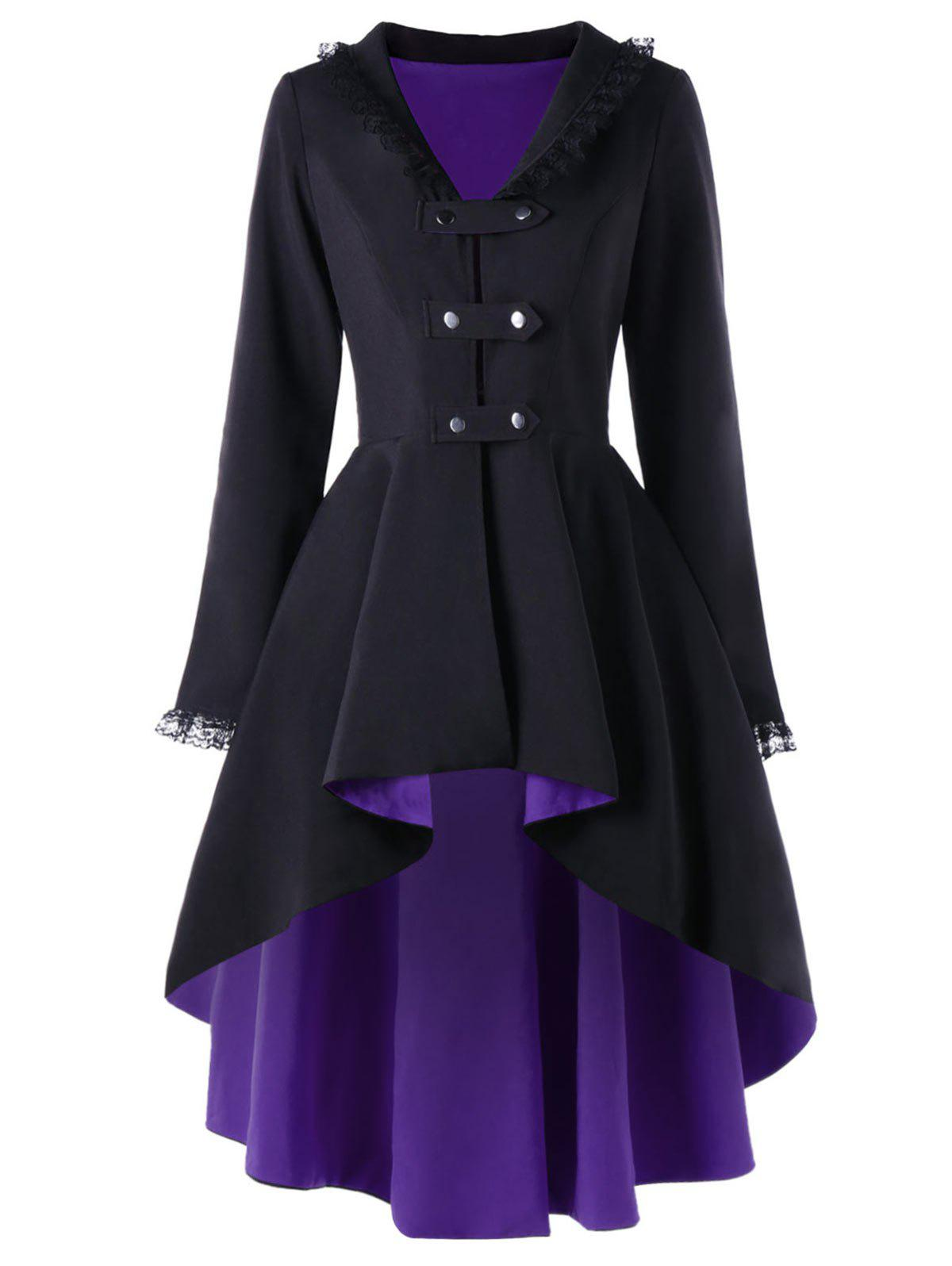Lace Trimmed High Low Gothic Coat - PURPLE M