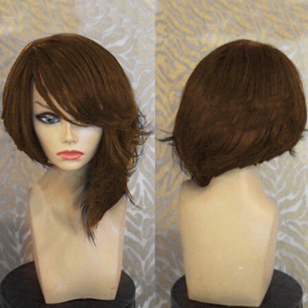 Medium Capless Oblique Bang Straight Synthetic Wig, Brown