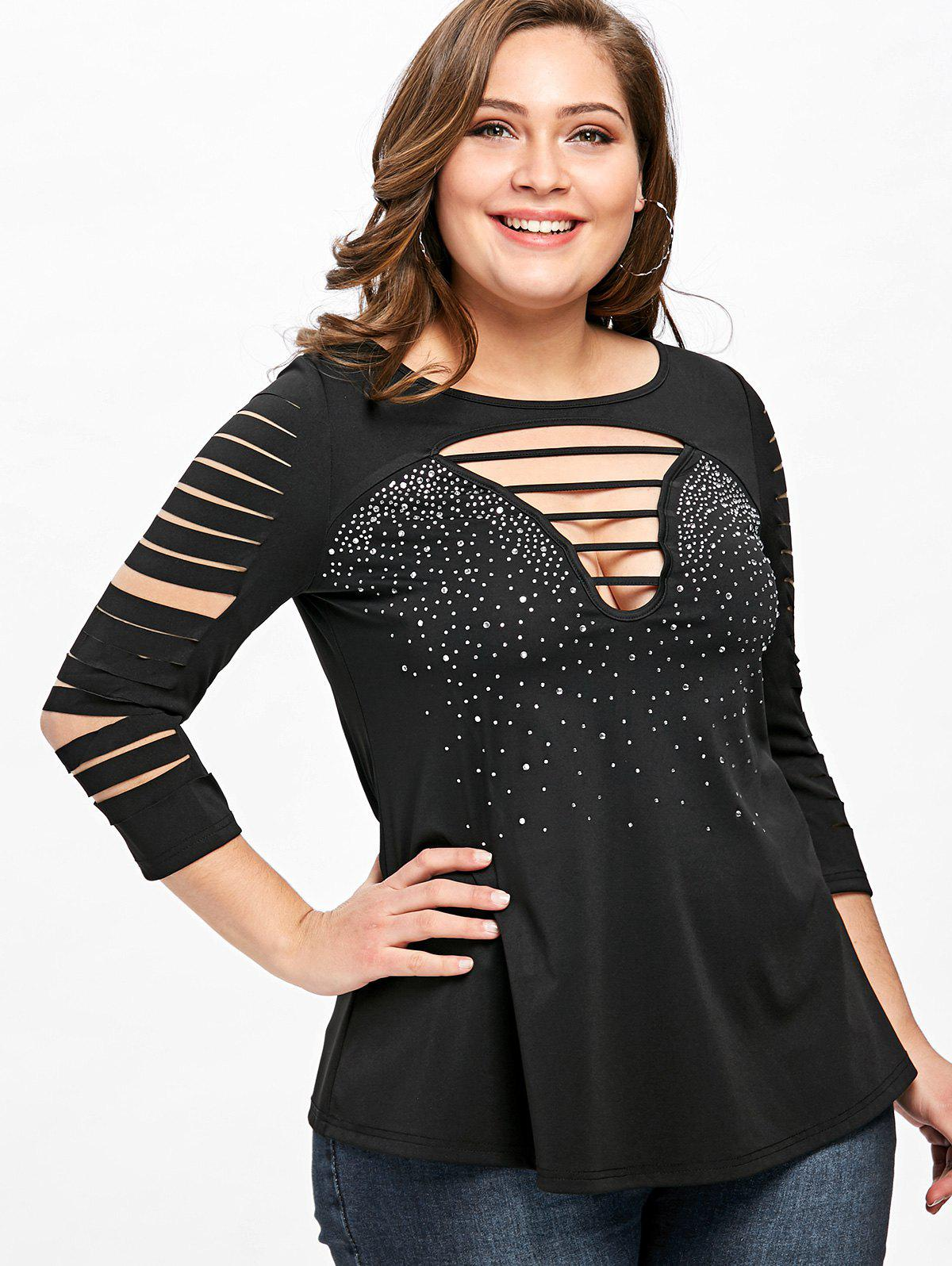 Plus Size Ladder Cutout T-shirt - BLACK 2XL