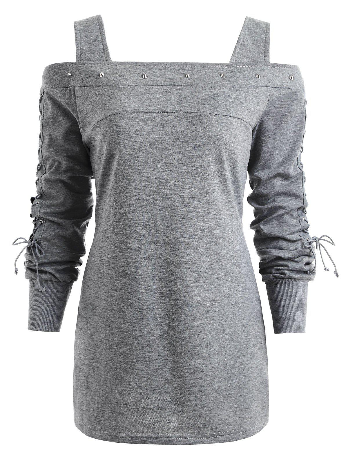 Rivet Lace-up Long Sleeve Cold Shoulder T-shirt black lace up cold shoulder long sleeves t shirt