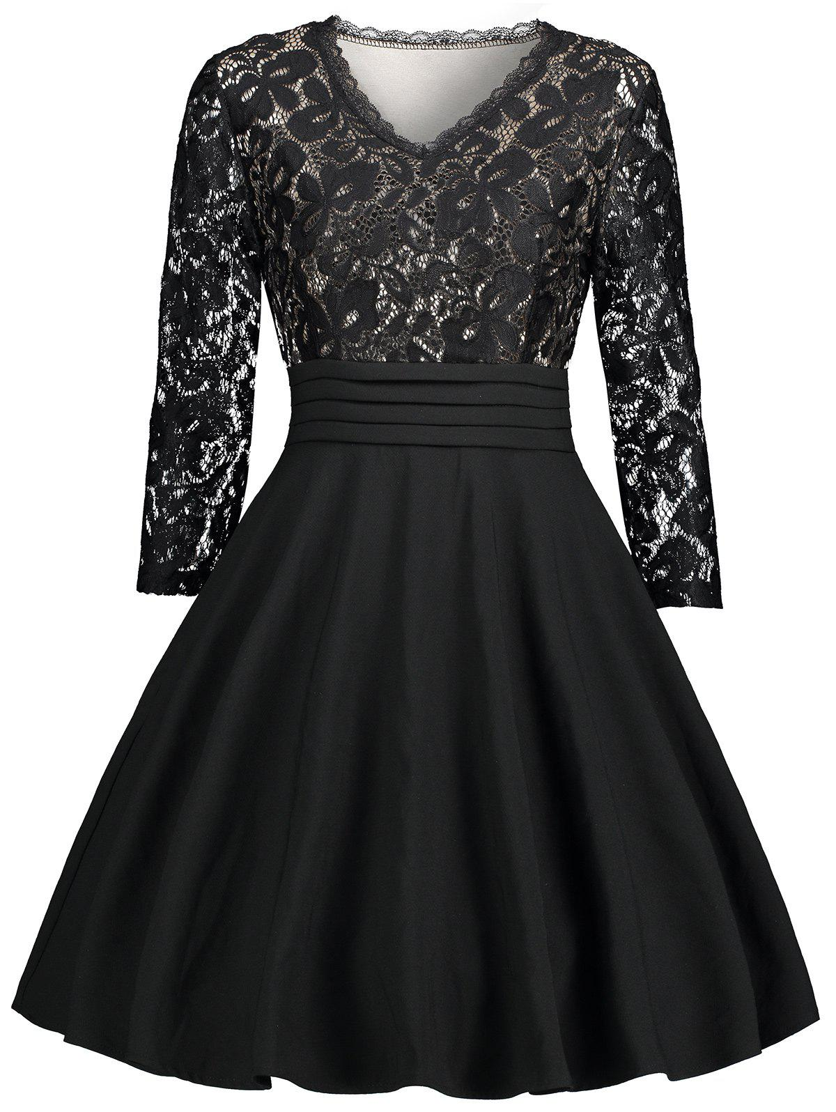 V Neck Lace Panel Fit and Flare Dress retro lace panel fit and flare dress