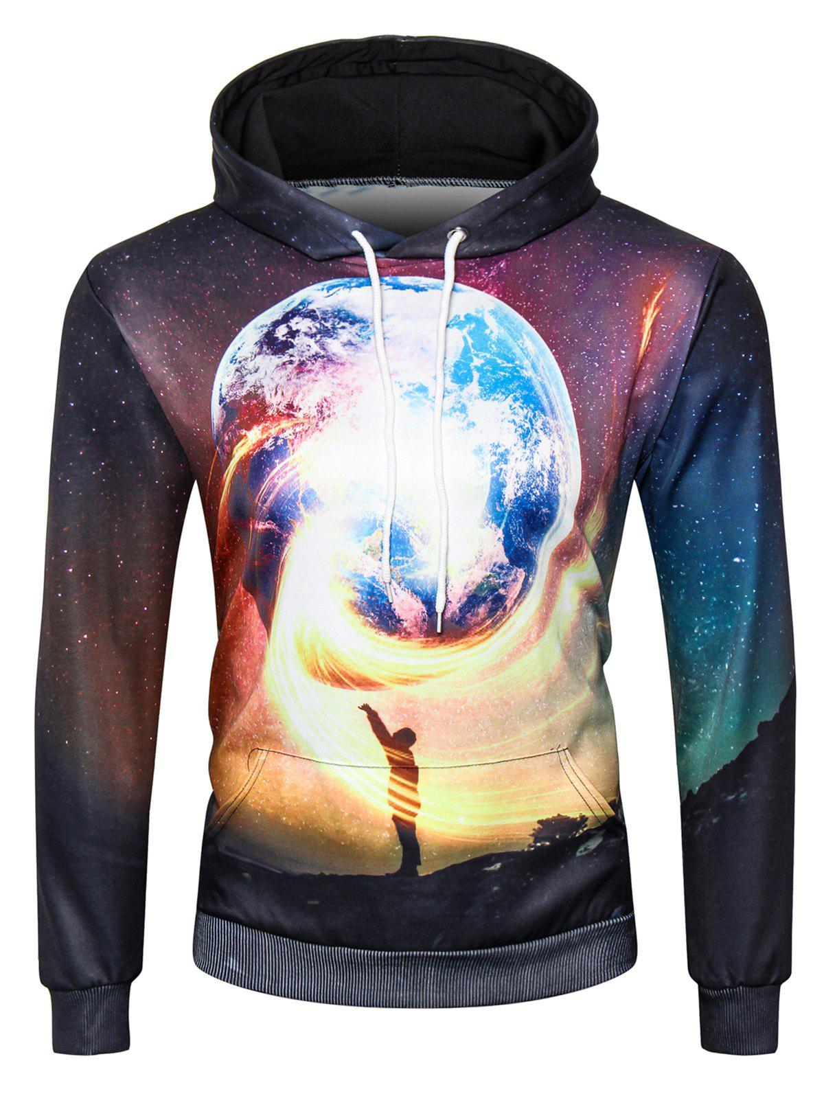 Trippy Galaxy Earth 3D Print Pullover Hoodie 3d galaxy trippy earth print pullover hoodie