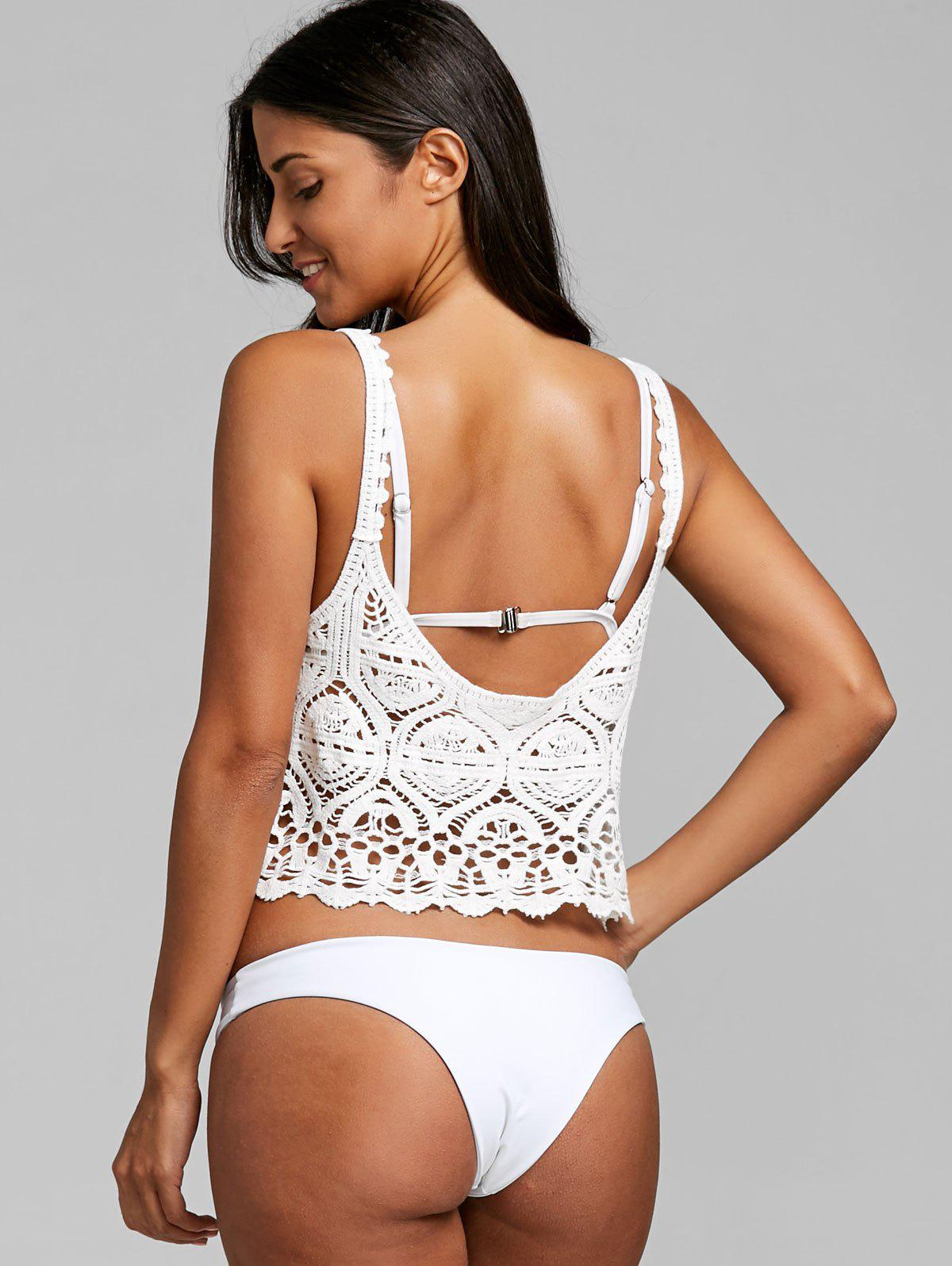 Lace Crochet Crop Cover Up Top - WHITE ONE SIZE