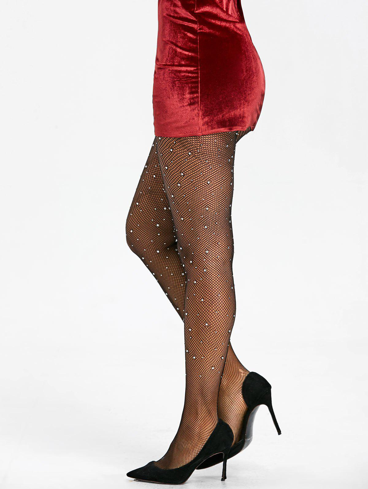 Small Fishnet Pantyhose with Rhinestones - BLACK ONE SIZE