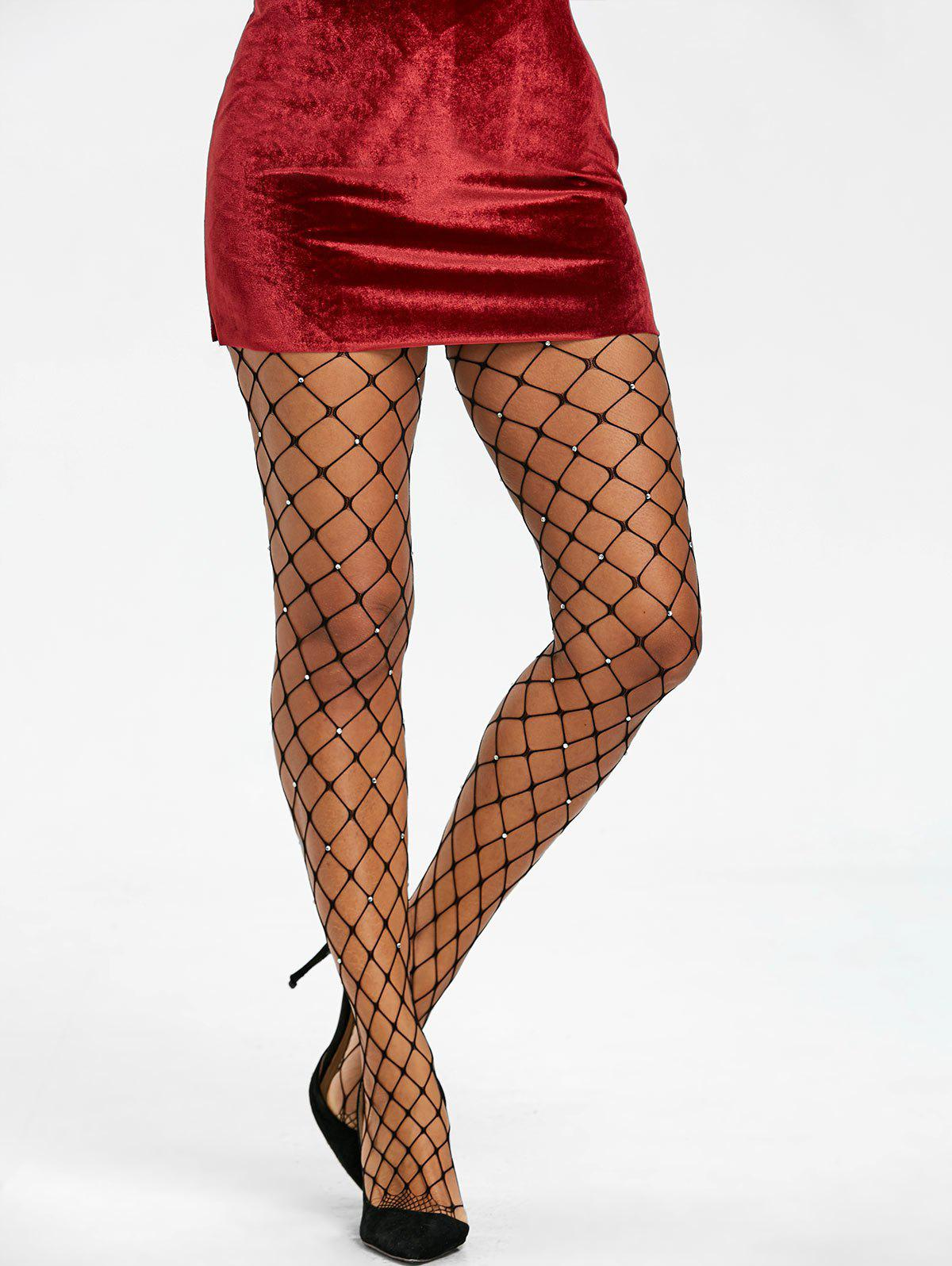 Rhinestones Big Fishnet Pantyhose - BLACK ONE SIZE