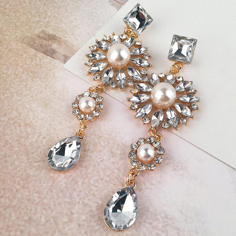 Faux Crystal Rhinestone Teardrop Floral Earrings floral rhinestone teardrop earrings
