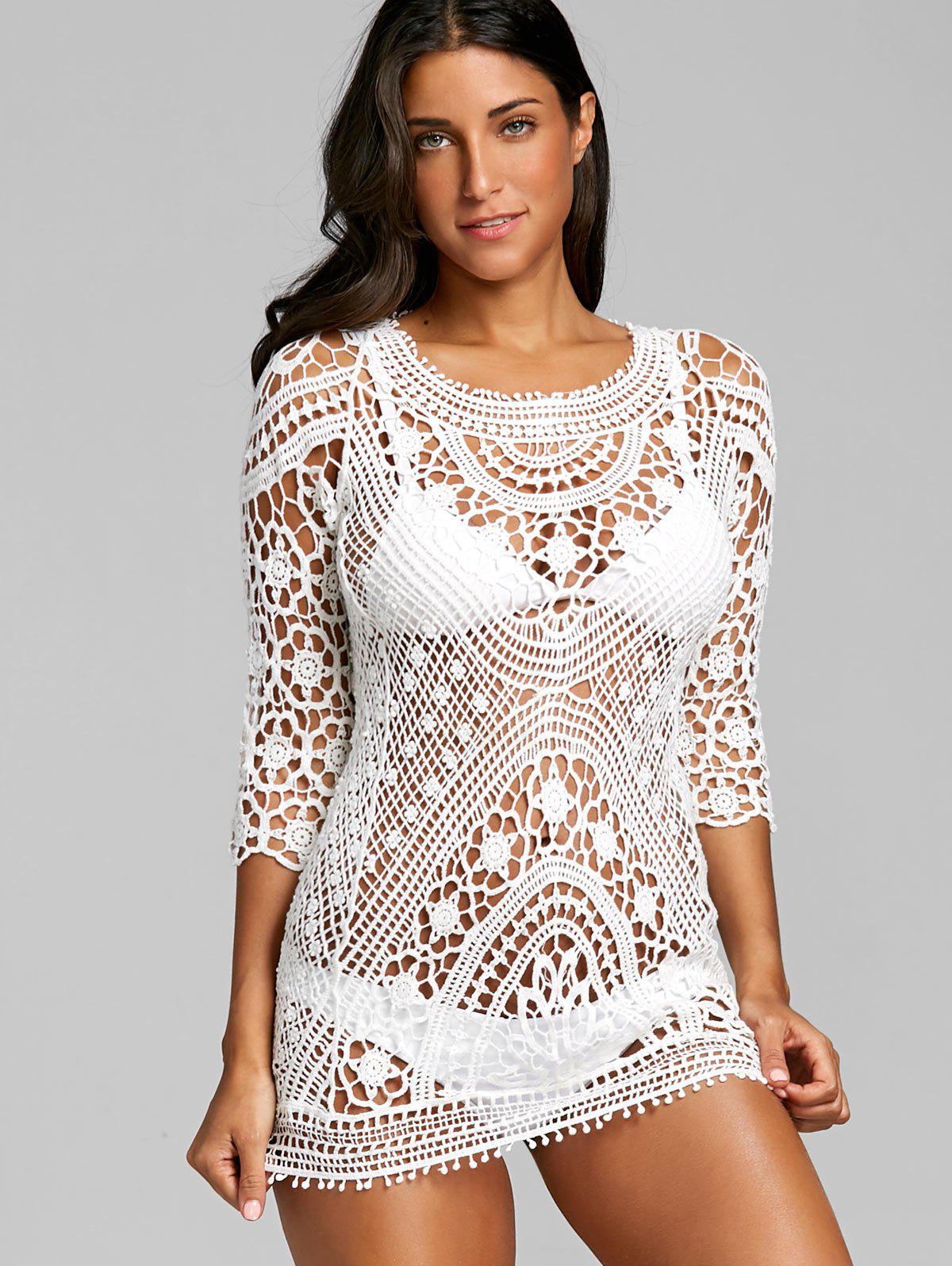 Flower Hollow Out Crochet Lace Cover Up - WHITE ONE SIZE