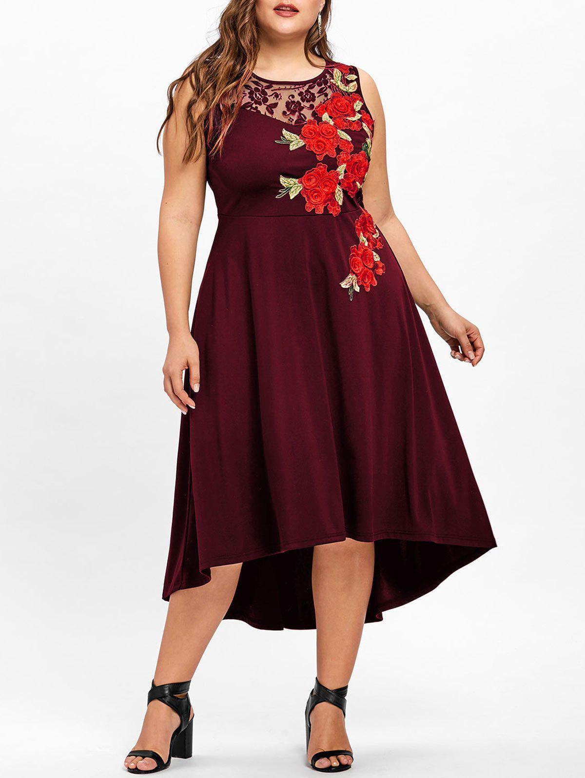 Plus Size Embroidery High Low Hem Dress plus size high low floral embroidered dress