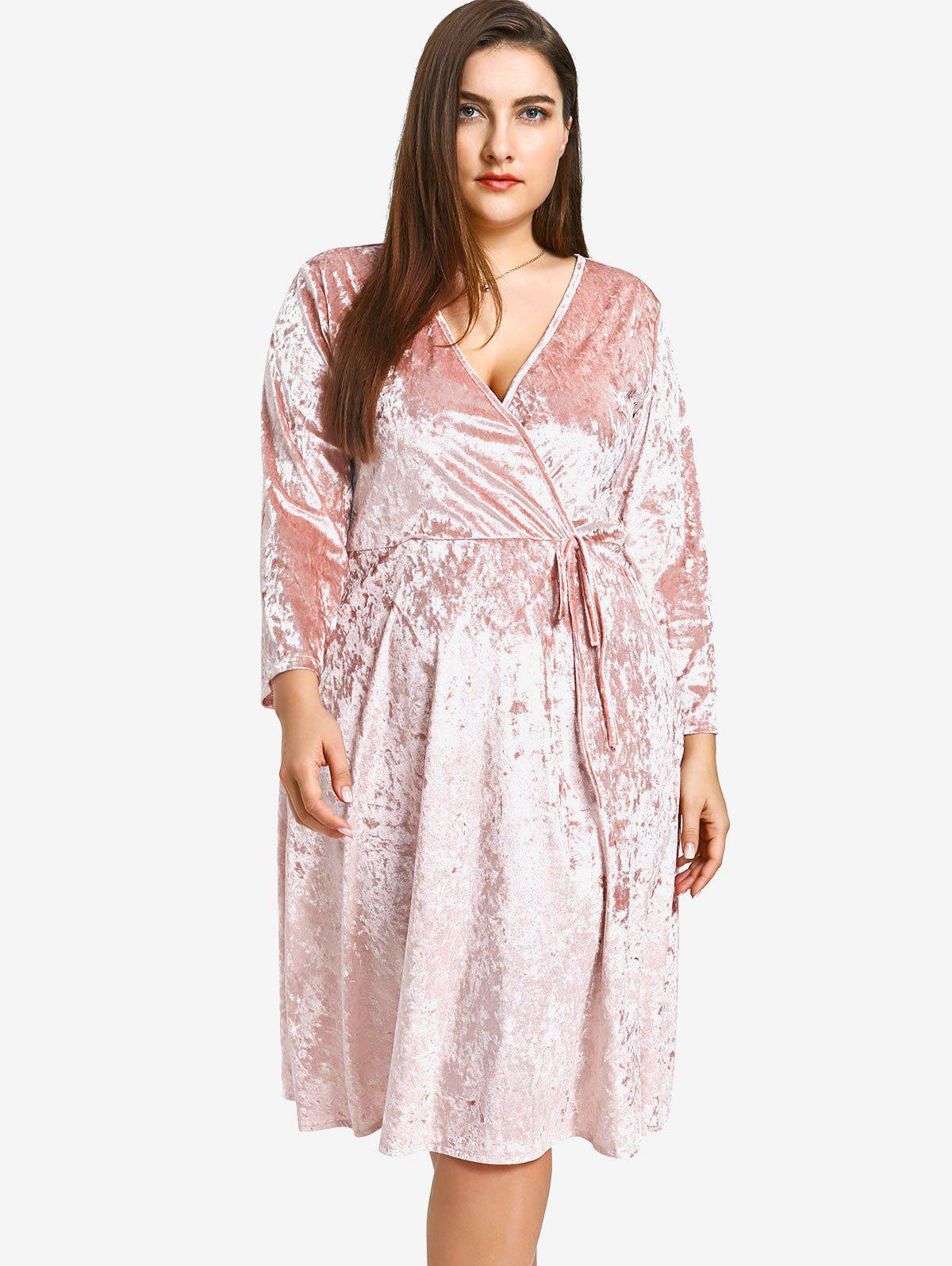 Crushed Velvet Plus Size Dress - PINK 2XL