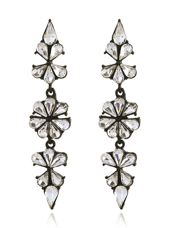Rhinestone Teardrop Floral Layered Drop Earrings floral rhinestone teardrop earrings