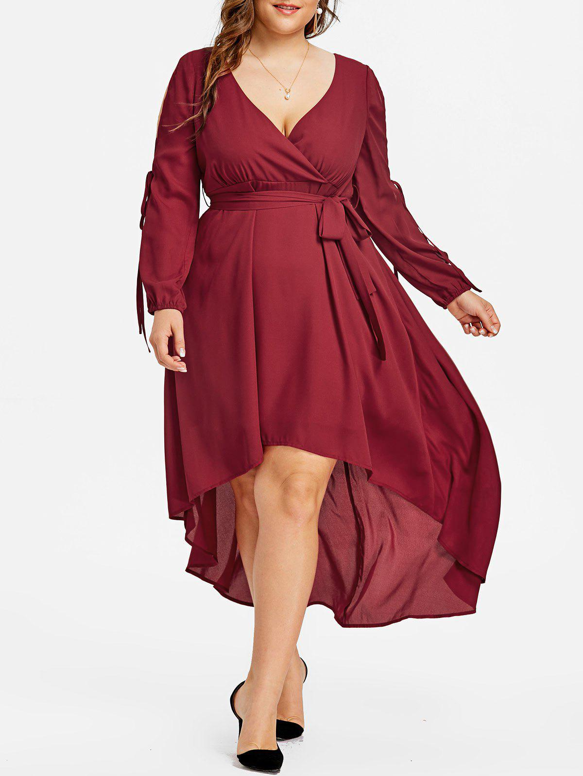 Split Sleeve High Low Plus Size Midi Dress split