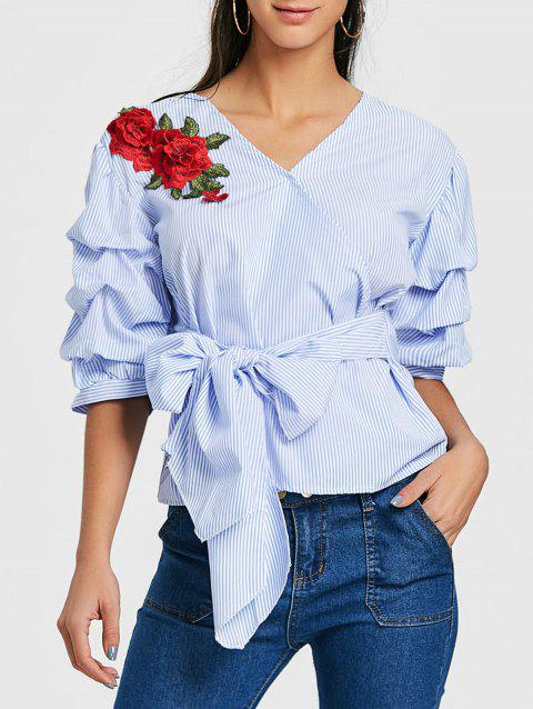 Striped Bowknot Embroidered Blouse - BLUE XL