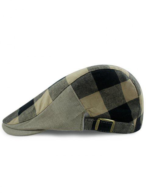 Outdoor Checked Pattern Embellished Adjustable Cabbie Hat - BLACK
