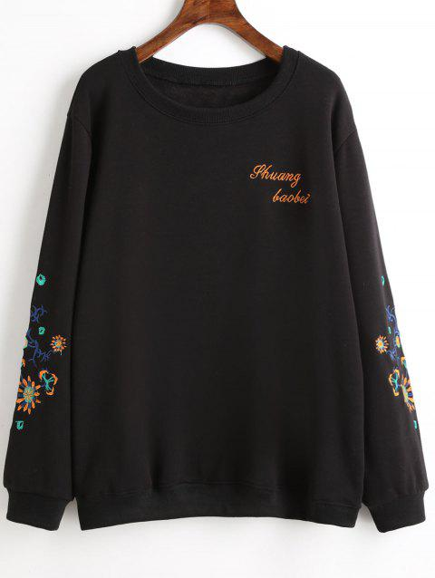 Graphic Embroidered Plus Size Fleece Lined Sweatshirt - BLACK 2XL